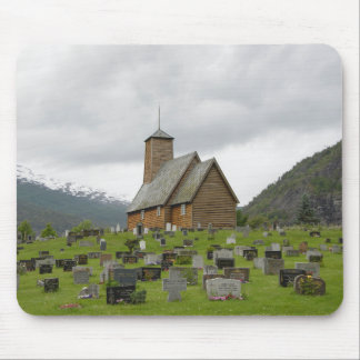Stave church with graveyard in Norway mousepad