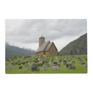Stave church with graveyard in Norway placemat