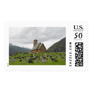 Stave church with graveyard in Norway stamp