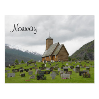 Stave church with graveyard postcard with Norway