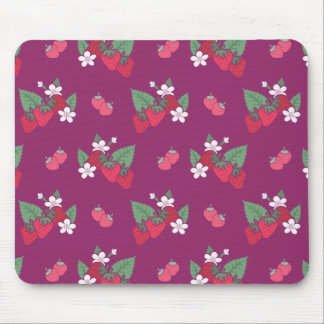 Stawberries and Blossoms Pattern Mouse Pad