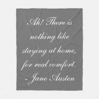 """Stay At Home"" Jane Austen Fleece Blanket"