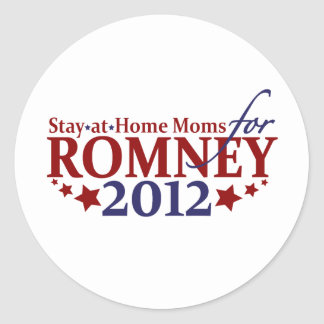 Stay-at-Home Moms for Romney 2012 Classic Round Sticker