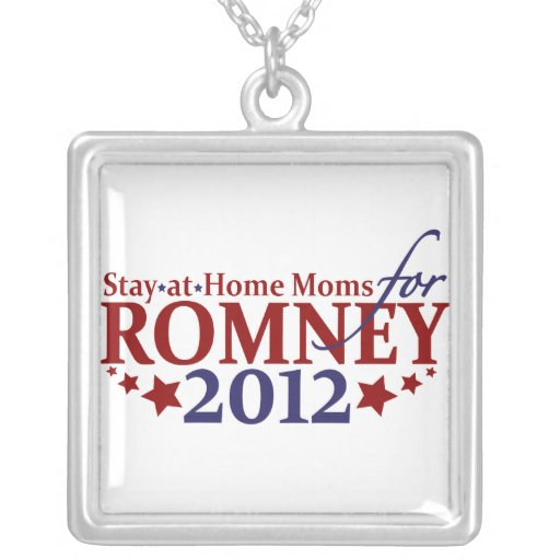 Stay-at-Home Moms for Romney 2012 Square Pendant Necklace