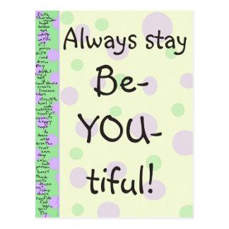 Stay Be-YOU-tiful! Postcard