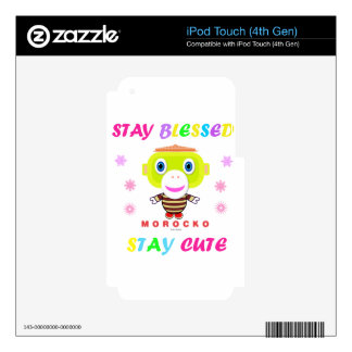 Stay Blessed Stay Cute-Cute Monkey-Morocko Decals For iPod Touch 4G