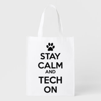 stay calm and tech on vet tech tote grocery bag