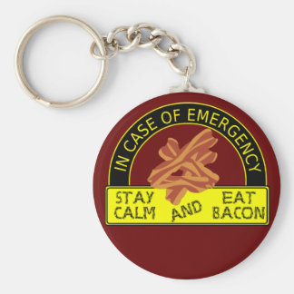 Stay Calm, Eat Bacon Keychain