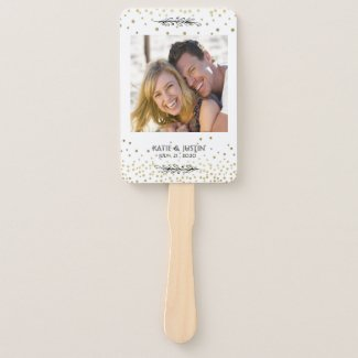 Stay Cool Gold Confetti Photo Wedding Hand Fans