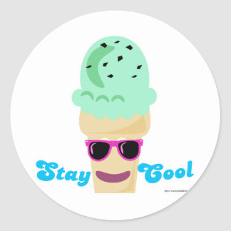 Stay Cool Ice Cream Classic Round Sticker