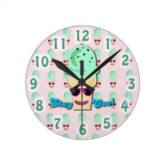 Stay Cool Ice Cream Cone Round Clock