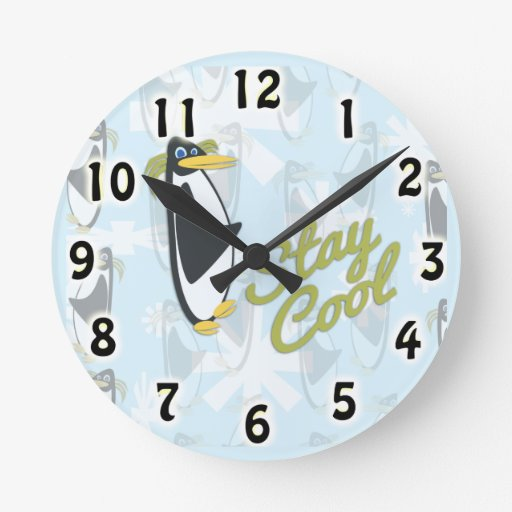 Stay Cool Penguin Style Round Wallclocks