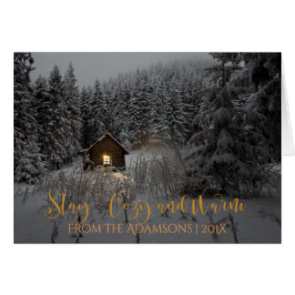 Stay Cozy And Warm Log Cabin in Snow Photo Card
