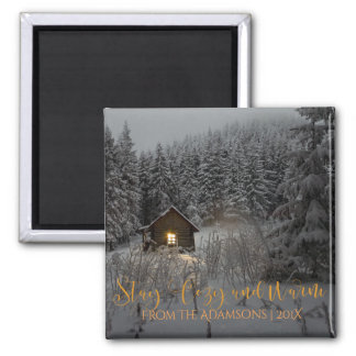 Stay Cozy And Warm Log Cabin in Snow Photo Magnet