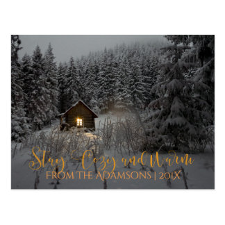 Stay Cozy And Warm Log Cabin in Snow Photo Postcard