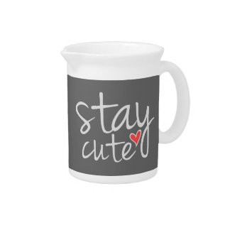 Stay Cute Pitcher, Gray Drink Pitcher