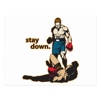 Stay Down Boxing Postcard