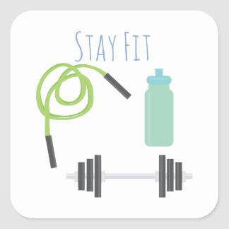 Stay Fit Square Stickers