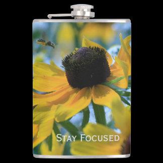 Stay Focused Daisies Custom Flask
