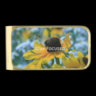 Stay Focused Daisies Custom Gold Finish Money Clip
