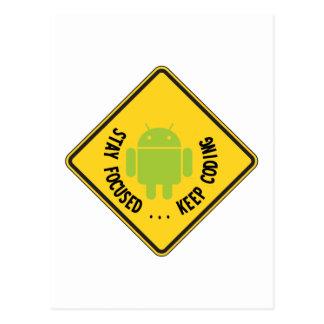 Stay Focused ... Keep Coding Bug Droid Sign Postcard