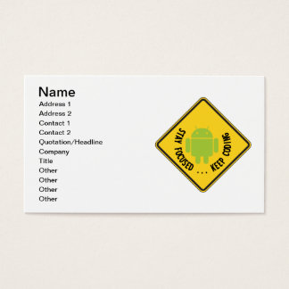 Stay Focused ... Keep Coding Bug Droid Sign Sides Business Card