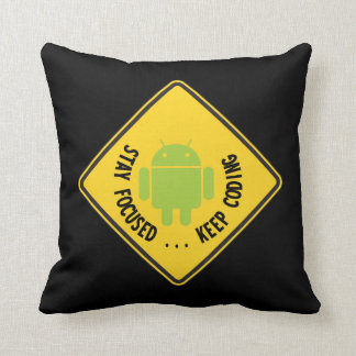 Stay Focused ... Keep Coding Bug Droid Sign Sides Pillow