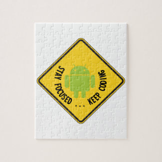 Stay Focused ... Keep Coding Bug Droid Sign Sides Puzzle