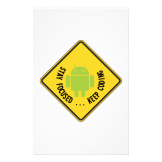 Stay Focused ... Keep Coding Bug Droid Sign Sides Custom Stationery