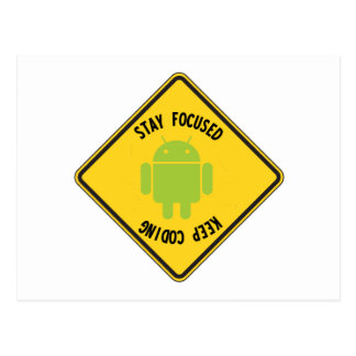 Stay Focused Keep Coding Top Bottom Sign Post Card