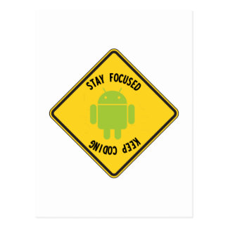 Stay Focused Keep Coding (Top Bottom Sign) Postcard