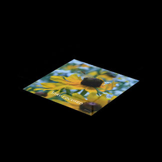 Stay Focused Quote Daisies Acrylic Tray
