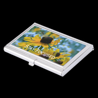Stay Focused Quote Daisies Case For Business Cards