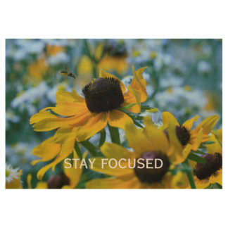 Stay Focused Quote Daisies Custom 19x29 Wood Poster