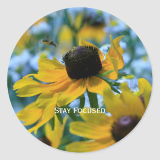 Stay Focused Quote Daisies Custom Envelope Seals /