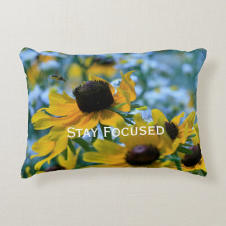 Stay Focused Quote Daisies Decorative Pillow