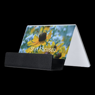 Stay Focused Quote Daisies Desk Business Card Holder