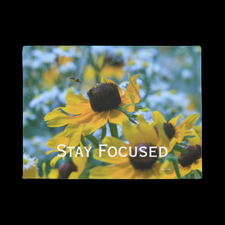 Stay Focused Quote Daisies Doormat