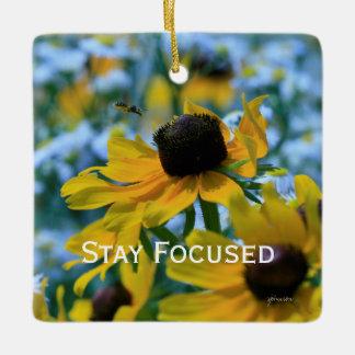 Stay Focused Quote Daisies Mirror Hanger / Ceramic Ornament