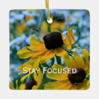 Stay Focused Quote Daisies Mirror Hanger / Ceramic Ornament