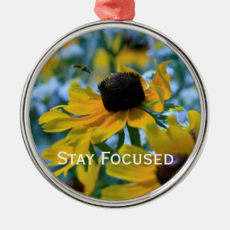 Stay Focused Quote Daisies Mirror Hanger / Metal Ornament