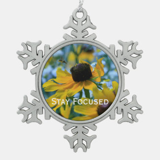 Stay Focused Quote Daisies Mirror Hanger / Snowflake Pewter Christmas Ornament