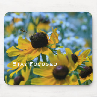 Stay Focused Quote Daisies Mouse Pad