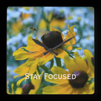 Stay Focused Quote Daisies Square Wall Clock