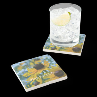 Stay Focused Quote Daisies Stone Coaster