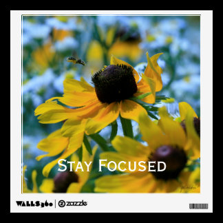 Stay Focused Quote Daisies Wall Sticker