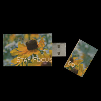 Stay Focused Quote Daisies Wood Flash Drive