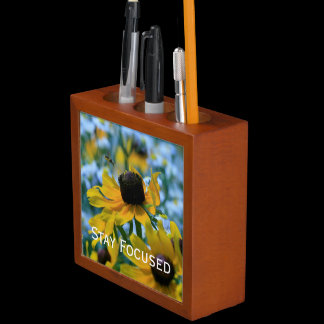 Stay Focused Quote Yellow Daisies Pencil Cup / Pencil/Pen Holder