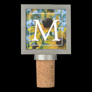 Stay Focused Wild Yellow Daisies Monogram Wine Stopper
