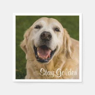 """Stay Golden"" Golden Retriever Cocktail Napkins"